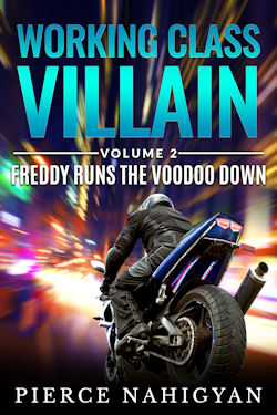 cover design for the book entitled Freddy Runs The Voodoo Down