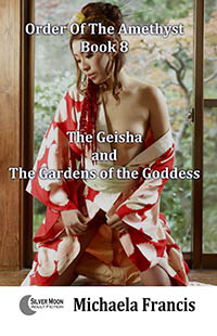 cover design for the book entitled The Geisha And The Gardens Of The Goddess