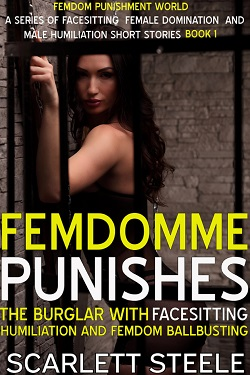 cover design for the book entitled FemDomme Punishes The Burglar With Facesitting Ballbusting