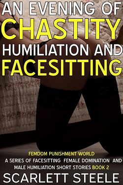 cover design for the book entitled An Evening Of Chastity Humiliation And Facesitting