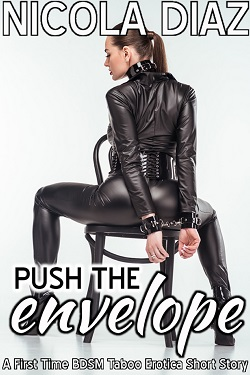 cover design for the book entitled Push The Envelope - A First Time BDSM Taboo Erotica Short Story
