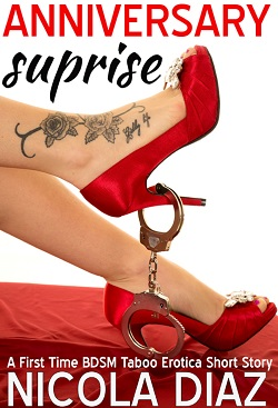 cover design for the book entitled Anniversary Surprise - A First Time BDSM Taboo Erotica Short Story