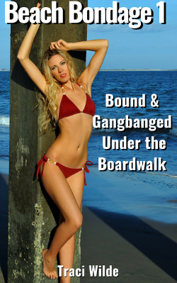 cover design for the book entitled Beach Bondage 1: Bound & Gangbanged Under the Boardwalk