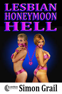 cover design for the book entitled Lesbian Honeymoon Hell