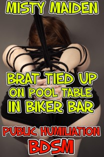 Brat tied up on pool table in biker bar