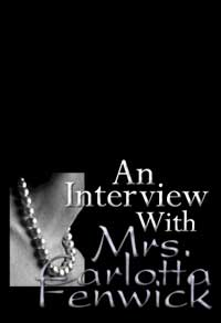 cover design for the book entitled An Interview With Mrs. Carlotta Fenwick