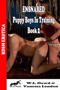 cover design for the book entitled Ensnared - Puppy Boys In Training Book 2