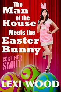cover design for the book entitled The Man of the House Meets the Easter Bunny
